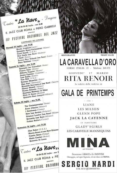Locandine spettacoli night-club: La Nave, La caravella d'Oro, Rita Renoir