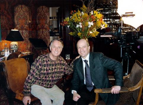 Michele Bovi con Neil Sedaka nel 2005 durante un'intervista nella sua casa di New York.